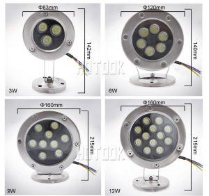 Kuru Havuz Müzikli Danslı Süs Havuzu Fıskiye Sistemi 3-6-9-12'li RGB IP68 Paslanmaz Kasa Su Altı Fıskiye Lambası