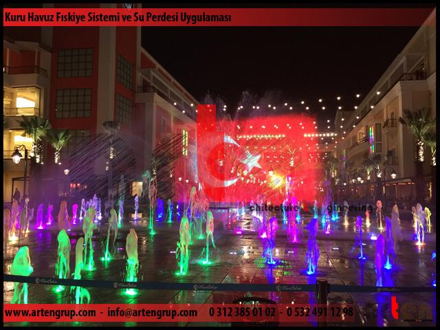 Müzikli Danslı Kuru havuz fıskiye sistemi ve su perdesi projeksiyon uygulaması